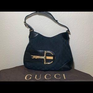 Authentic Gucci Hasler horsebit shoulder bag GG